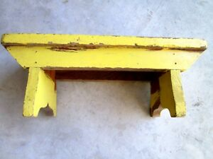 Stool Primitive Vintage Antique Wooden Short Bench Strasburg Pa Repurposed