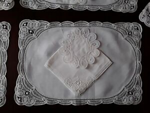 Beautiful Brussels Lace Table Settings White Linen Place Mats Napkins