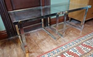Mid Century Modern Glass Top Side Table Pair Vtg 60 70s Aluminium Retro Design