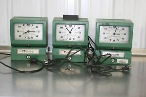 Lot Of 3 Acroprint Time Clock Recorder Manual Punch With Key Parts Or Repair