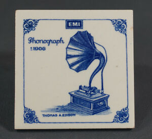 1906 Antique Edison Gramophone Phonograph Emi Hot Pad Tea Coffee Holder Art Tile