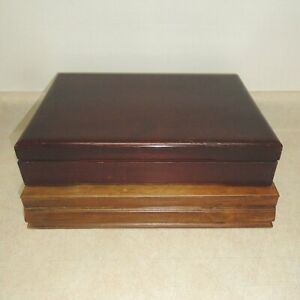Pair Of Vintage Wooden Silverware Chests Flatware Cases Storage Boxes