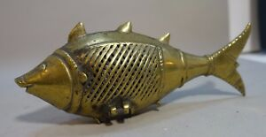 A57k Antique India Lost Wax Cast Brass Handmade Fish Container 6 Long