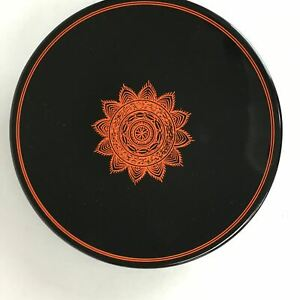 Japanese Lacquer Ware Plate Vtg Round Wood Obon Black Lotus Flower Lw974