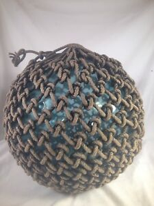 Old Authentic Large Signed T Vtg Antique Glass Fishing Float Rope Buoy Ball 2