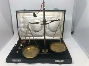 Vintage Jewelers Apothecary Pharmacy Brass Weight Balance Scales 50 Grams 500 Mg