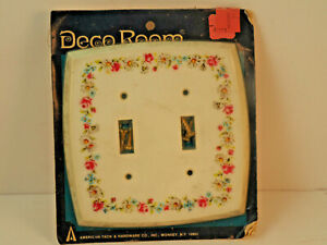 1977 American Tack Hardware 5 X 5 Shaped Wall Plate 2 Switch English Garden