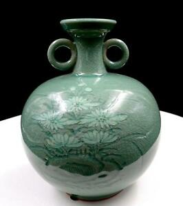 Korean Art Pottery Green Celadon Crackle Glaze Floral 6 1 8 Vase Jug