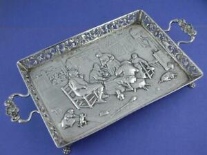Dutch 800 Silver Gallery Tray W Tavern Scene Pierced Border Ornate W Birds
