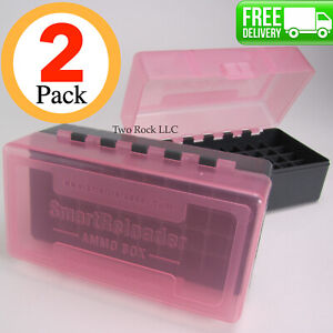 2-PACK - 223  5.56mm - Plastic Ammo Box Case - Holds 50 Rounds - PINK TOPS