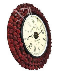 Wooden Wall Clock Hindu Religious Rudraksh Engraved Home Decor Gift