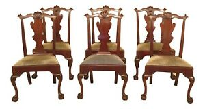 L47048ec Set Of Henkel Harris Ball Claw Mahogany Dining Room Chairs