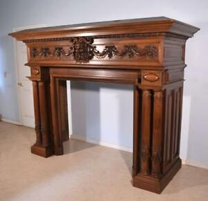 Antique French Fireplace Surround Mantle In Walnut With Baccus Or Devil
