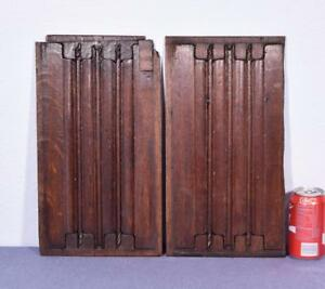 Pair Of Antique Gothic Revival Solid Oak Wood Panels W Linen Fold Carvings