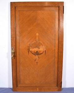 Antique Art Deco Inlaid Marquetry Solid Oak Wood Panel Door