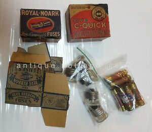 Lot Vintage Antique Fuses Glass Plug Non Renewable Blue Ribbon Royal Noark