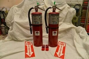 Set Of 2 Refurbished 10 bc Buckeye Fire Extinguishers W bracket And Sign