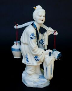 Vintage Chinese Porcelain Old Woman Carrying Water Vegetables Blue White 14 5