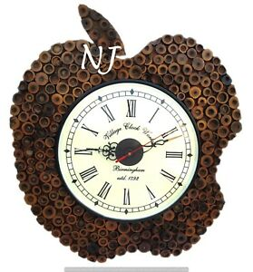 Vintage Style Brass Wooden Wall Clock Bamboo Work Clock Wall Decor Nautical Gift