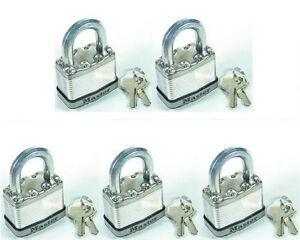 Lock Set By Master m1ka lot Of 5 Keyed Alike Magnum Stainless Carbide