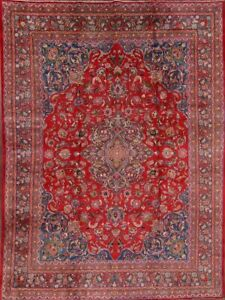 Vintage Floral Red Blue 10x13 Kashmar Persian Oriental Hand Knotted Area Rug