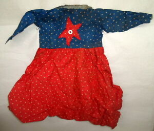 Grungy Tea Stained Primitive Doll Dress Blue Red Star W Button D5