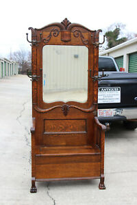 Fancy Victorian Tiger Oak Hall Tree With Beveled Mirror And Paw Feet Ca 1890