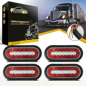 4pc 6 Red white 23 Led Truck Trailer Rubber Mount Stop Turn Tail Reverse Lights