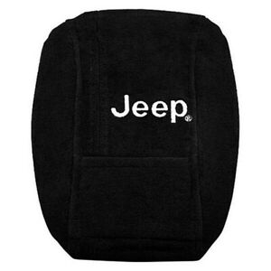 Black Protective Cloth Console Cover For 2001 2006 Jeep Wrangler Jeep Logotype