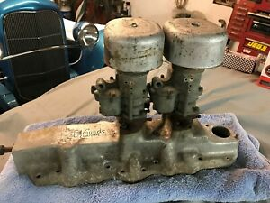 Edmonds Custom Flat Head Ford V8 Dual Carb Intake Manifold W Carbs Rat Rod