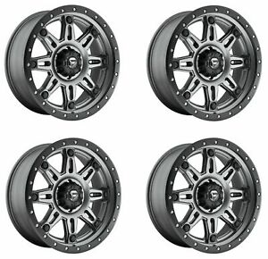 Set 4 17 Fuel Hostage Iii D568 Gunmetal Wheels 17x9 5x5 01mm Lifted Truck Rims
