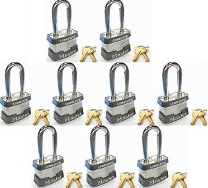 Lock Set By Master 3kalf lot Of 9 Keyed Alike Long Shackle Commercial Padlocks