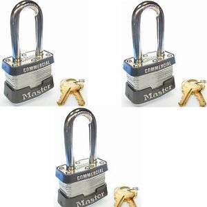 Lock Set By Master 3kalf lot Of 3 Keyed Alike Long Shackle Commercial Padlocks