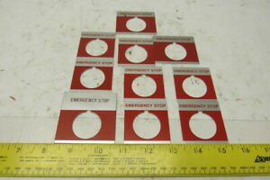 Emergency Stop Legend Plate For 30mm Switch Lot Of 10