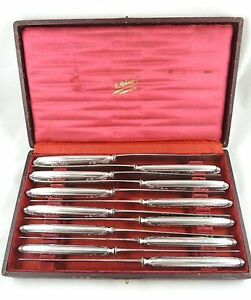 Antique French Puiforcat Silver Dinner Knives Boxed Flatware Set Of 12 830 Grams