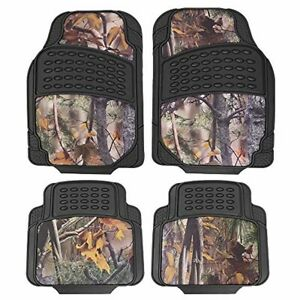 4 Pcs Durable Camouflage Car Floor Mats All Weather Protection Rubber Heavy Duty
