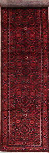 Vintage Hamedan Persian Hand Knotted 14 Ft Red Wool Runner Rug 13 10 X 3 6