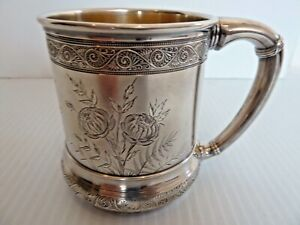 1882 Gorham Sterling Child S Cup Lovely Engraved Butterfly Flowers