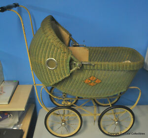 Vintage Baby Doll Carriage Stroller Buggy Cloth Wicker With Bedding Pillow