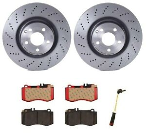 Brembo Front Brake Kit Ceramic Pads Sensor Drilled Disc Rotors For Mb W212 E550
