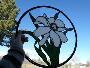 Stained Glass White Lilly Window Panel Round Sturdy And Clear Vintage