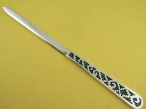Vintage Mexican Sterling Silver Enamel Letter Opener Unusual