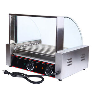 Commercial Electric Hot Dog Grill 24 Hot Dog 8 Roller Cooker Machine Showcase