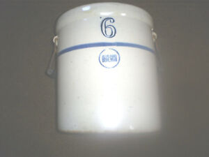 Antique Blue Band Stoneware 6 Crock With Bail Handles