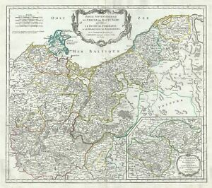1751 Vaugondy Map Of The Northern Portions Of Upper Saxony Germany