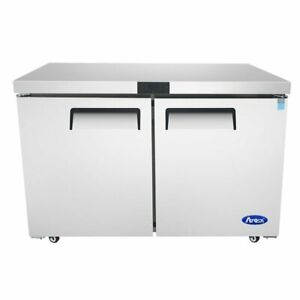 Atosa Usa Mgf8406gr 48 Two Solid Door Undercounter Freezer 13 38 Cu Ft