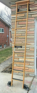 Cotterman Wood Rolling Library Ladder Solid Oak Industrial Chic Design