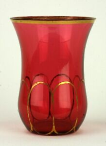 Victorian Cranberry Glass Vase With Gold Trim