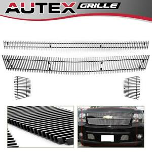 For 2007 2014 Chevy Tahoe Suburban Avalanche Vertical Billet Grille Grill Combo