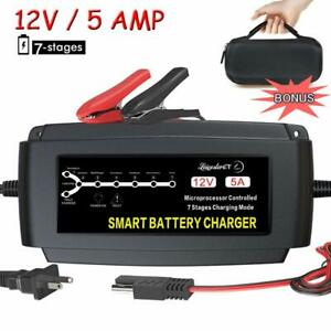 Lst 12v 5a Automatic Battery Charger Maintainer Smart Portable Deep Cycle